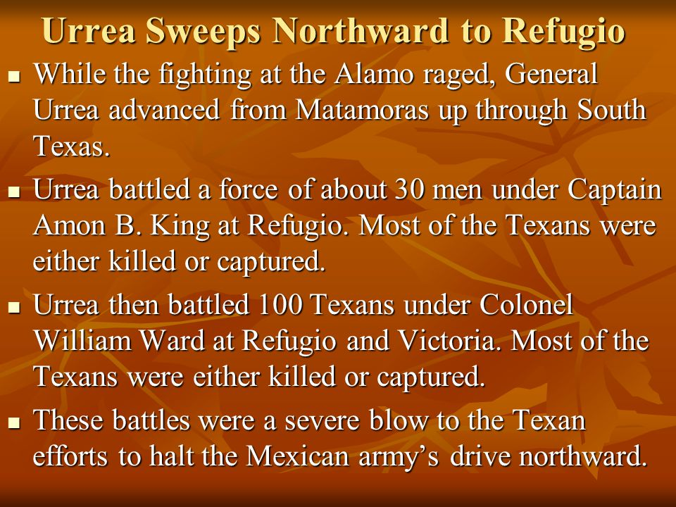 Urrea Sweeps Northward to Refugio