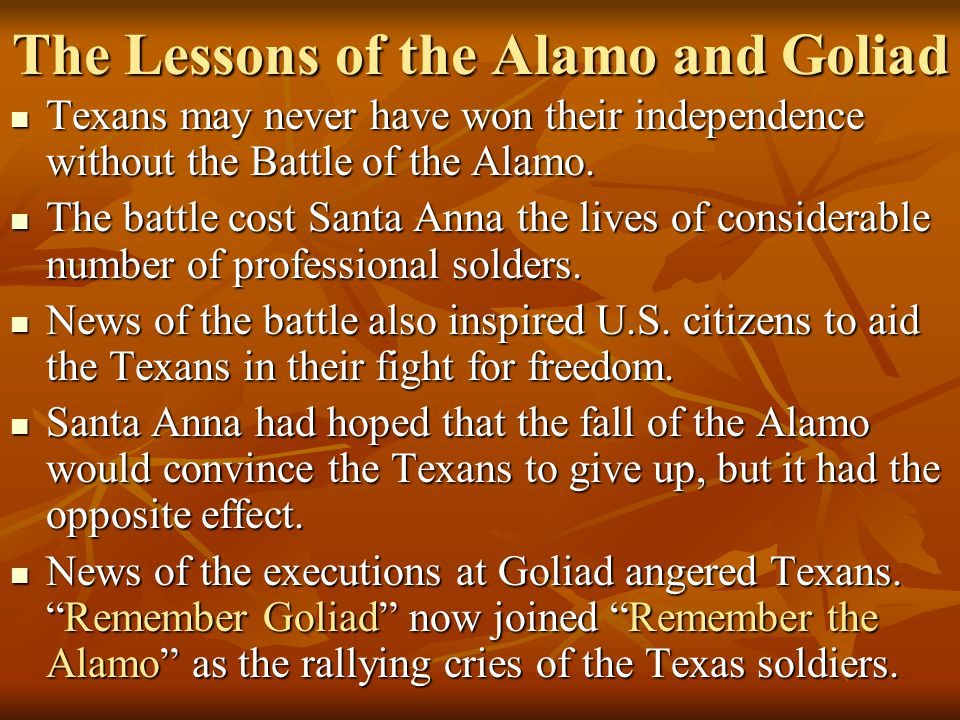 The Lessons of the Alamo and Goliad