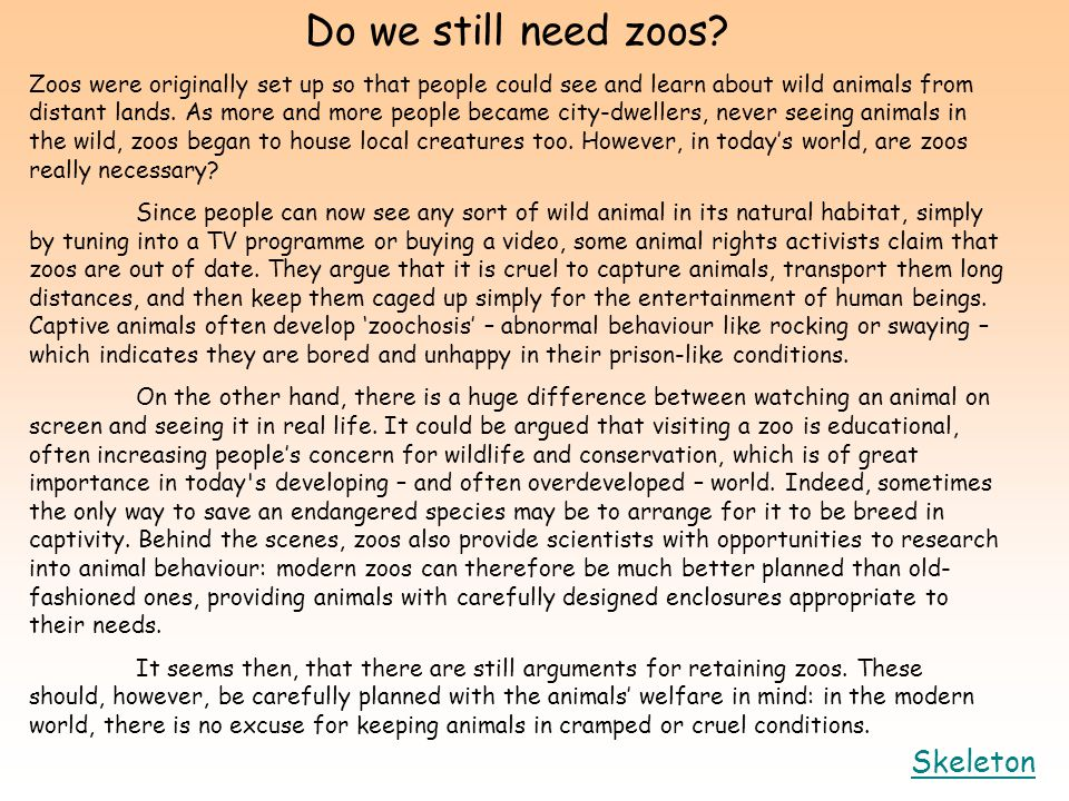 argumentative against zoos Free essays on against zoos get help with your writing 1 through 30.