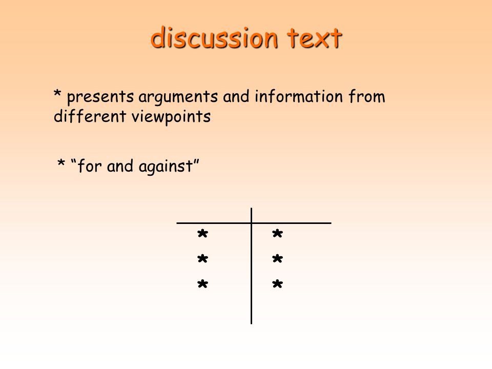 discussion text * presents arguments and information from different viewpoints. * for and against