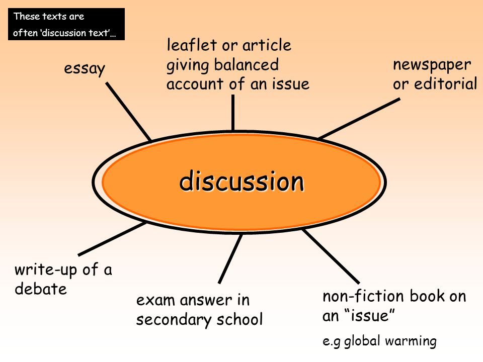 discussion leaflet or article giving balanced account of an issue