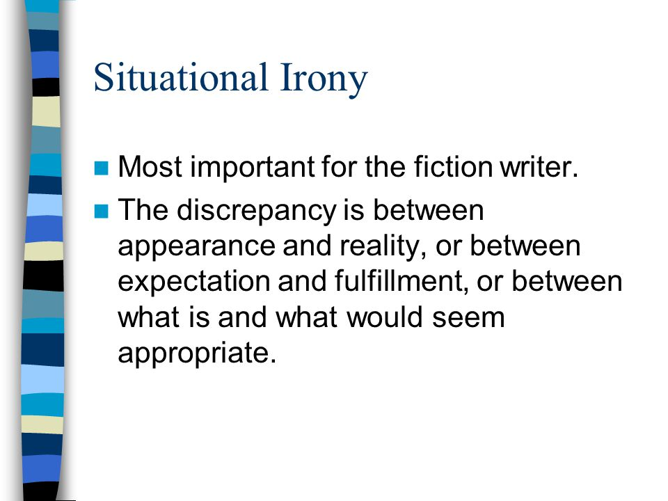Situational Irony Most important for the fiction writer.