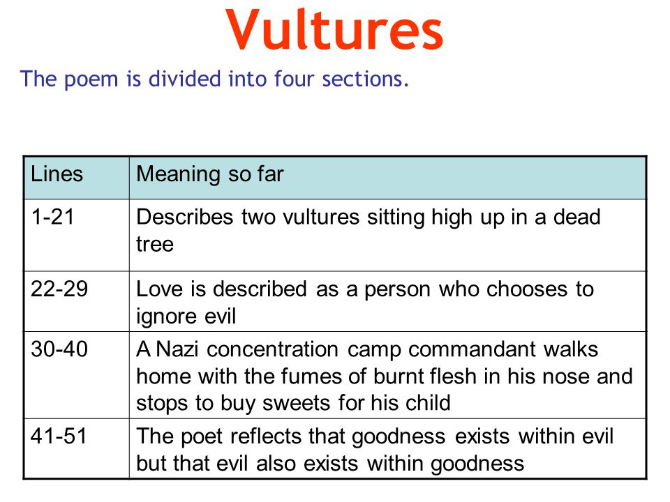 Vultures The poem is divided into four sections. Lines Meaning so far