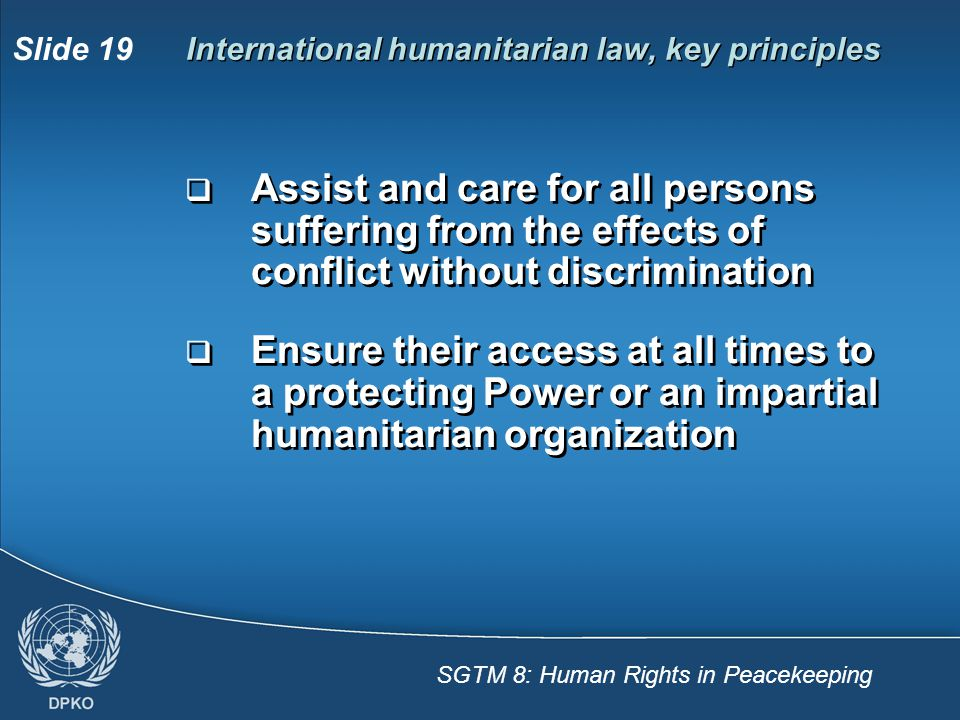 International humanitarian law, key principles