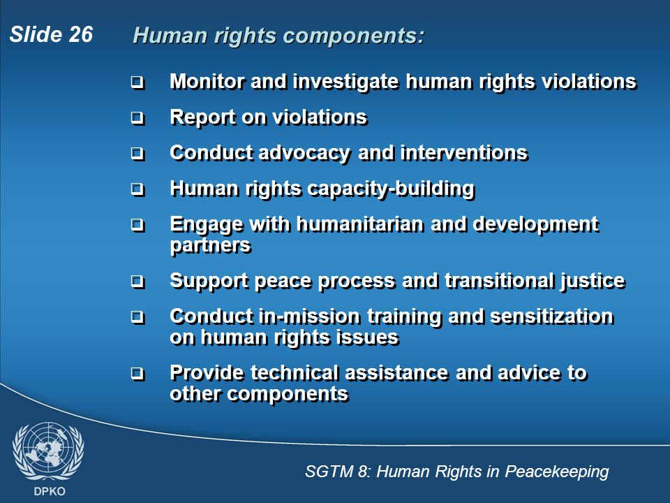 Human rights components: