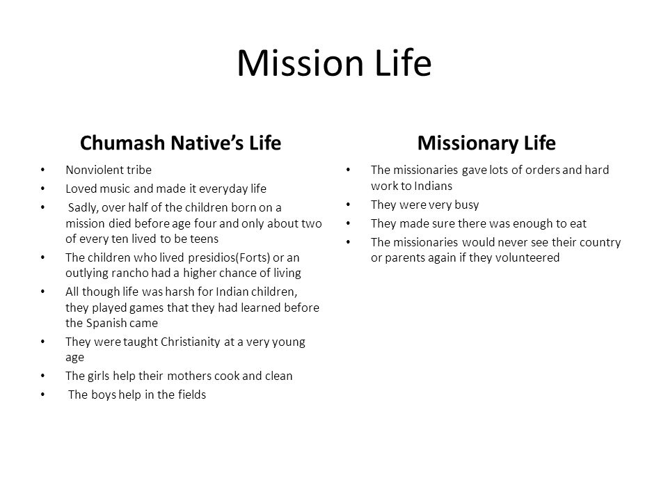 Mission Life Chumash Native's Life Missionary Life Nonviolent tribe
