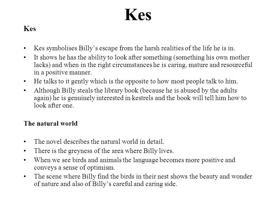 Kes Kes. Kes symbolises Billy's escape from the harsh realities of the life he is in.