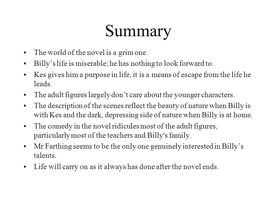 Summary The world of the novel is a grim one.