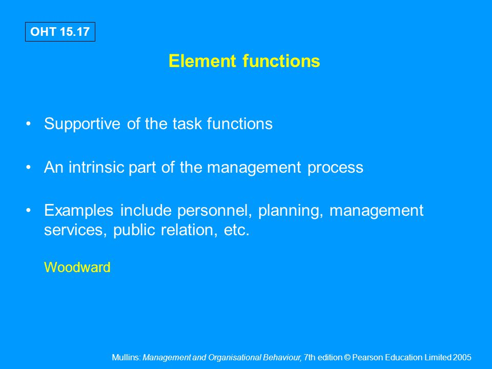 Task & element functions – implications of organisational structure