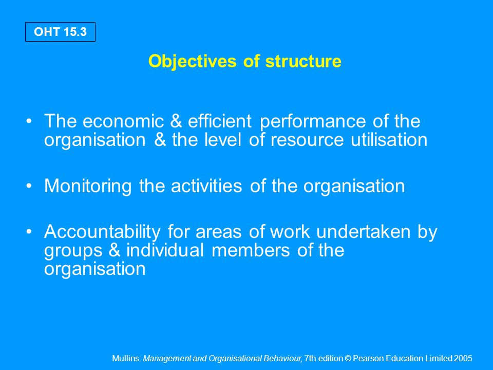 Objectives of structure