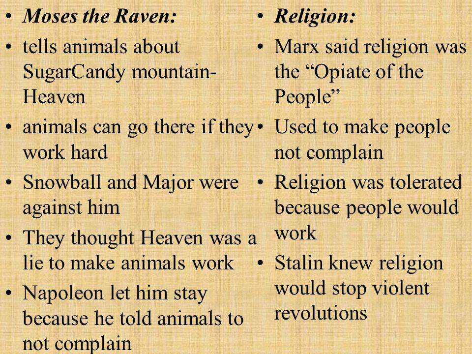 Moses the Raven: tells animals about SugarCandy mountain- Heaven. animals can go there if they work hard.
