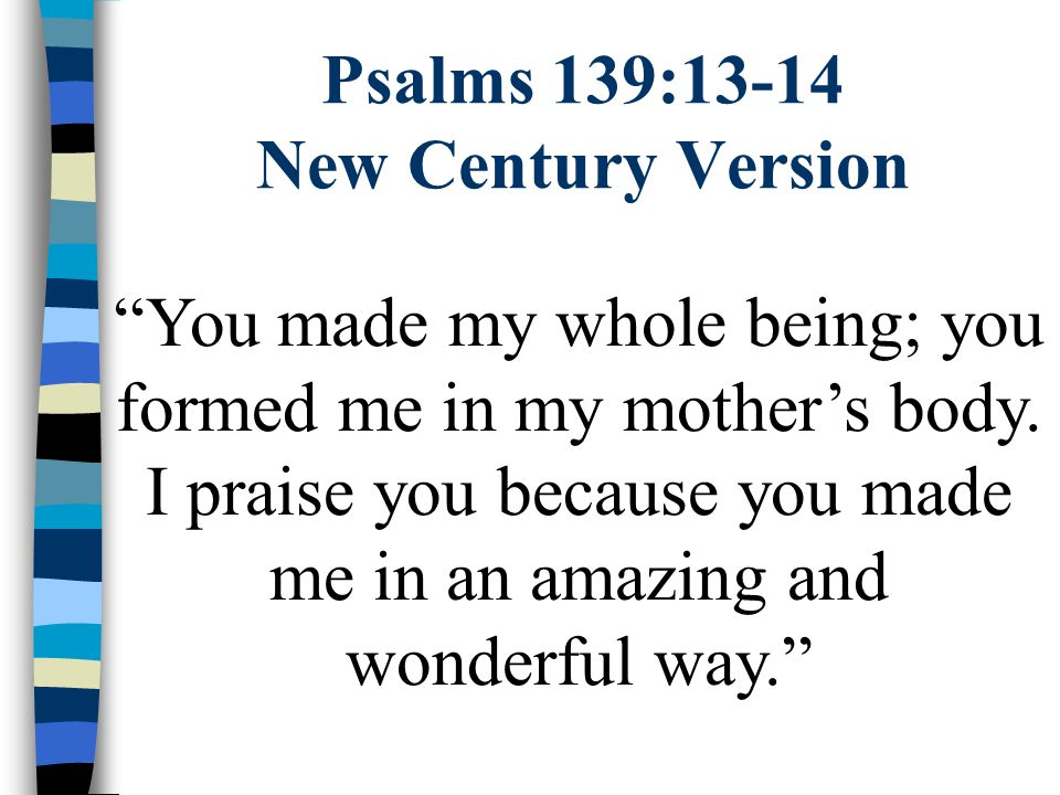Psalms 139:13-14 New Century Version