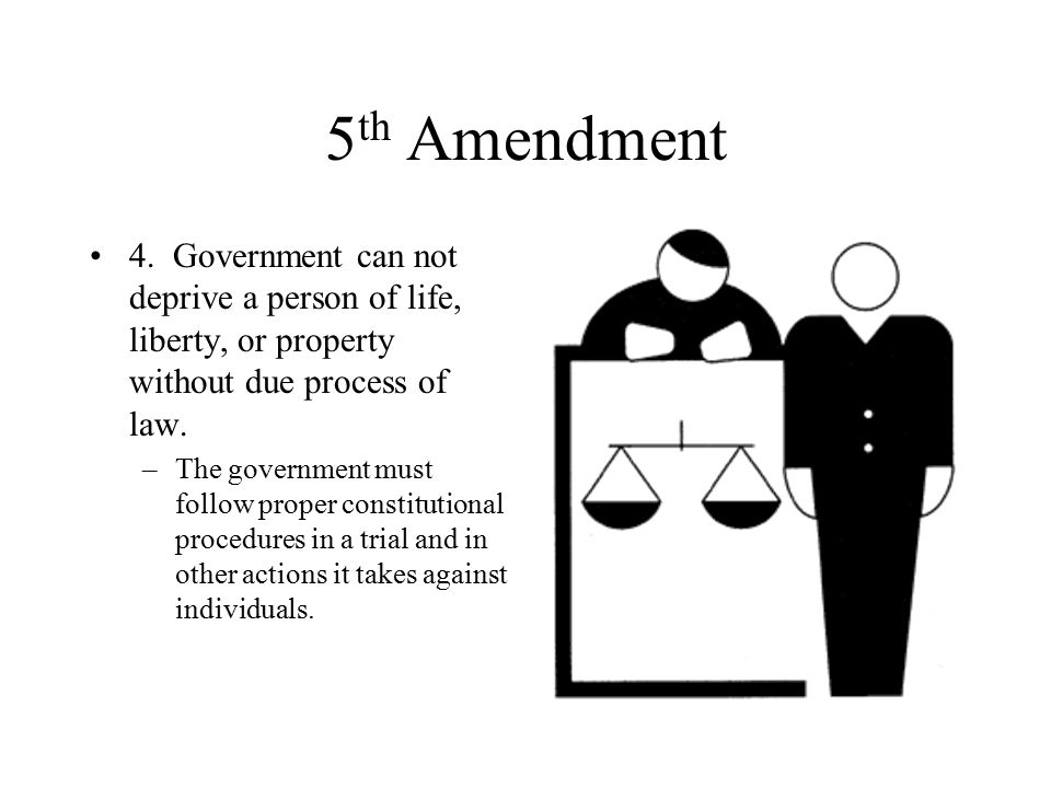 5th Amendment 4. Government can not deprive a person of life, liberty, or property without due process of law.