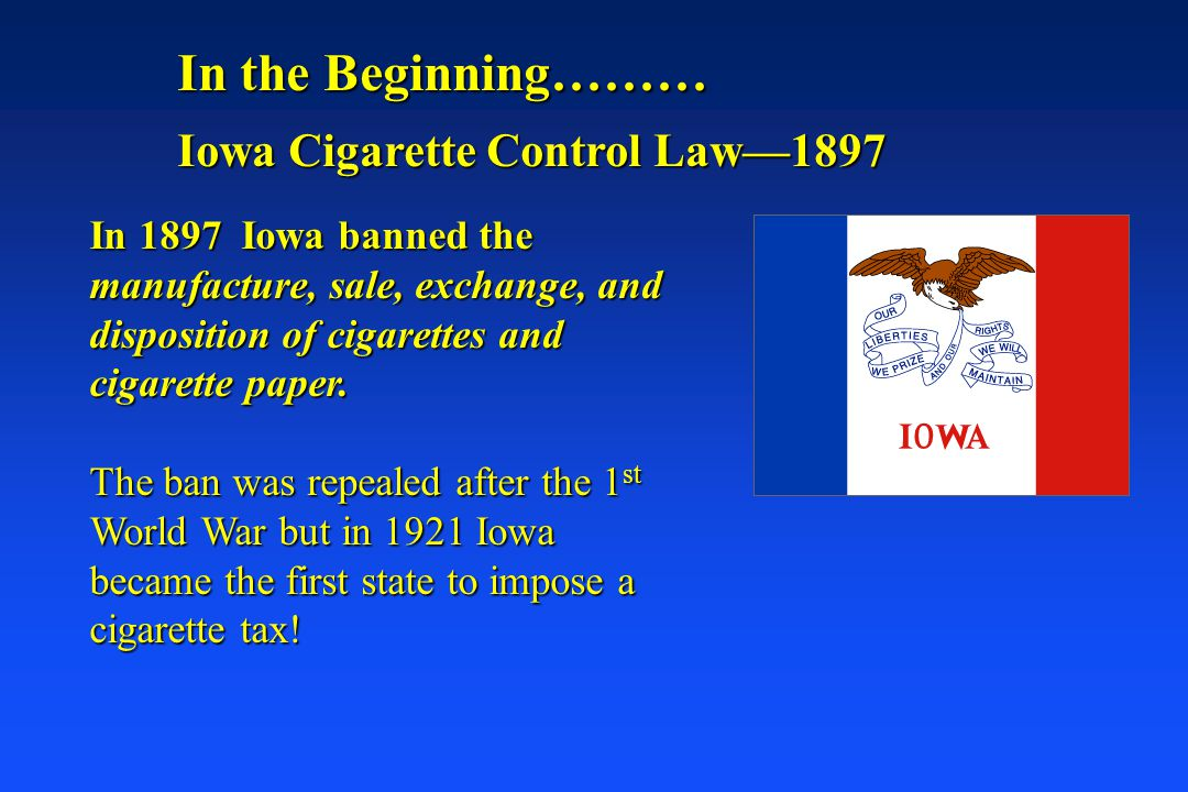 In the Beginning……… Iowa Cigarette Control Law—1897