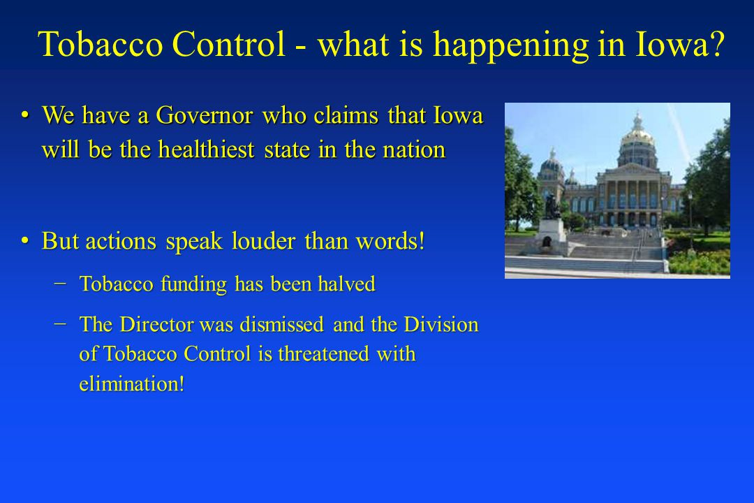 Tobacco Control - what is happening in Iowa