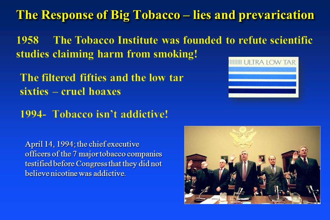 The Response of Big Tobacco – lies and prevarication
