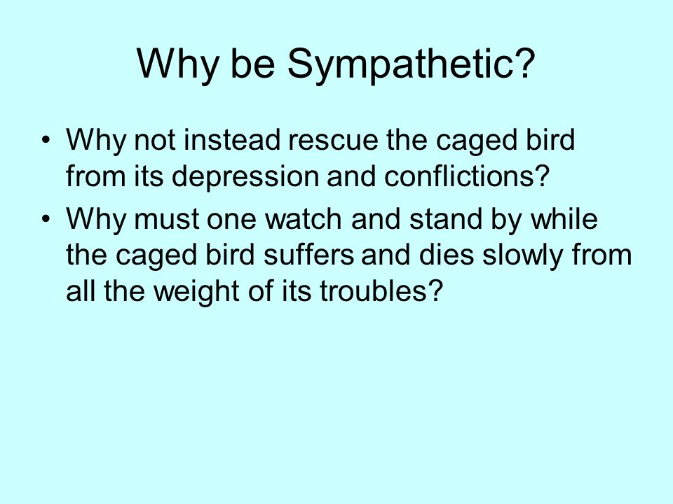 Why be Sympathetic Why not instead rescue the caged bird from its depression and conflictions