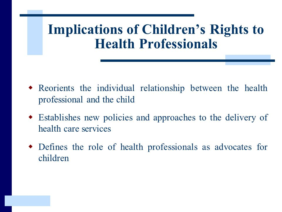 Implications of Children's Rights to Health Professionals