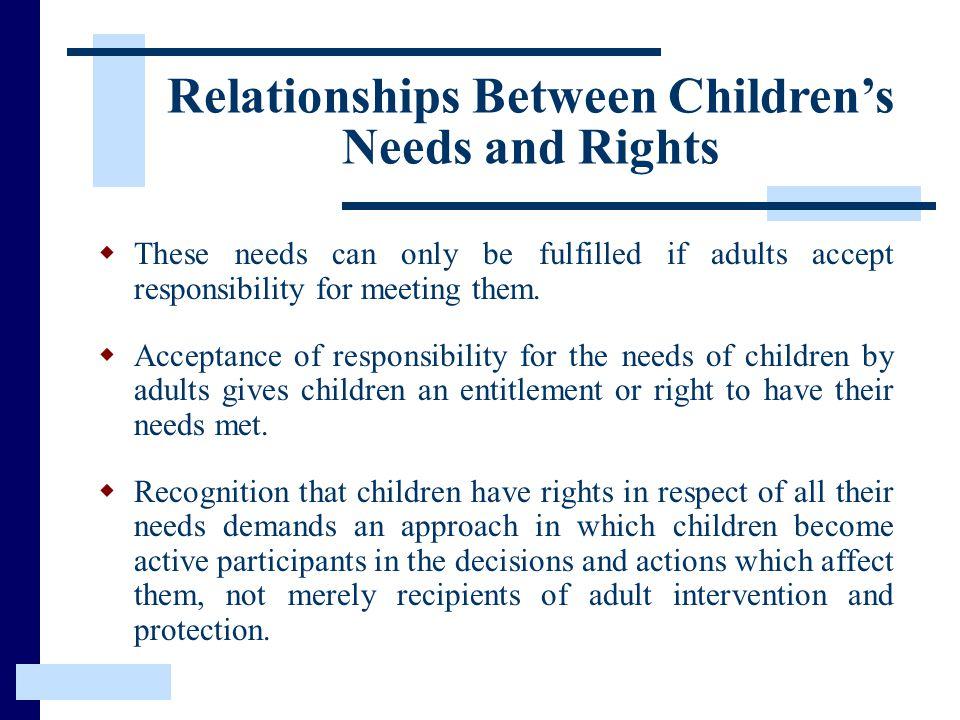 Relationships Between Children's Needs and Rights