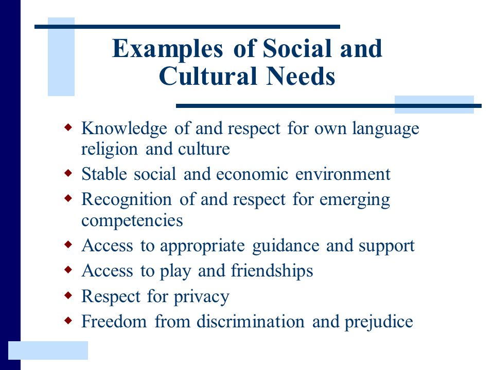 Examples of Social and Cultural Needs