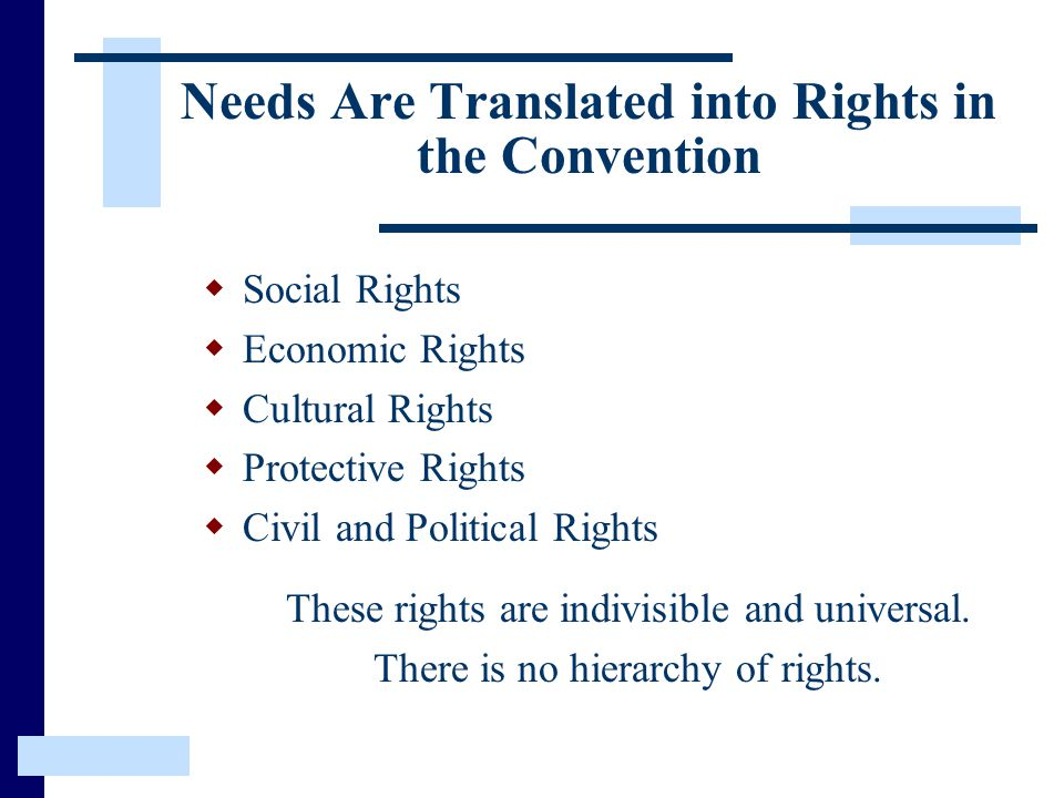 Needs Are Translated into Rights in the Convention