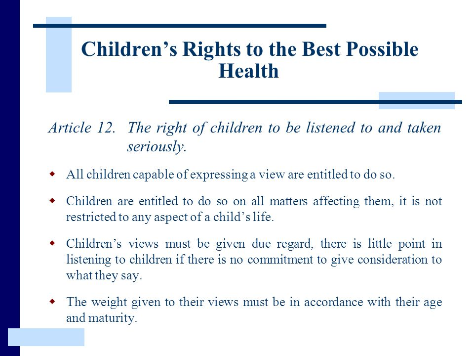 Children's Rights to the Best Possible Health