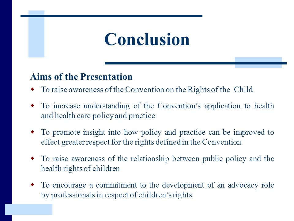 Conclusion Aims of the Presentation