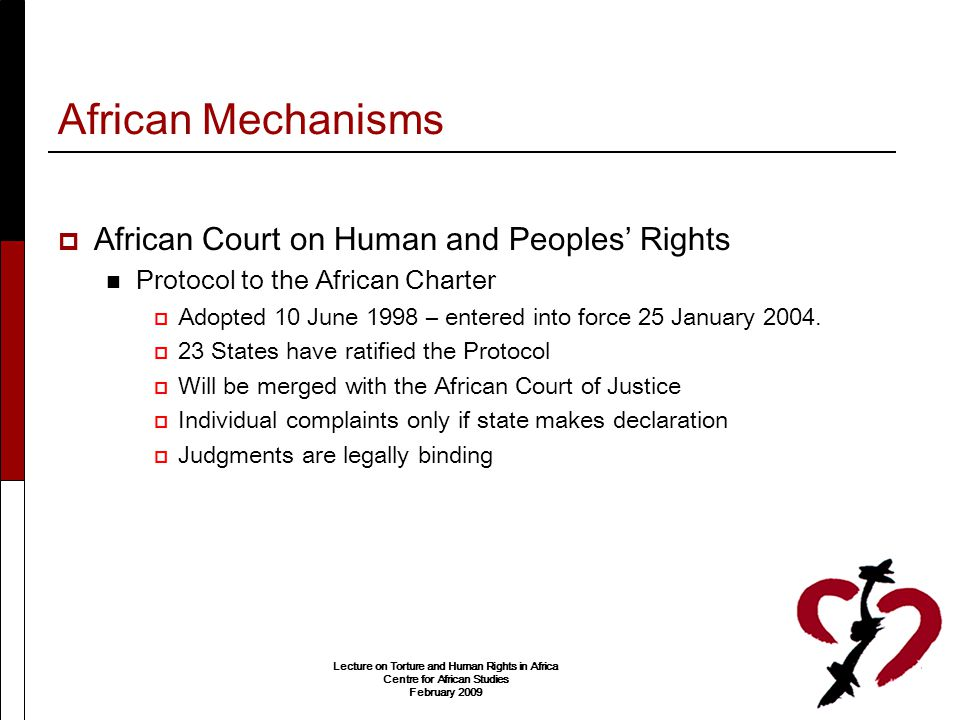 African Mechanisms African Court on Human and Peoples' Rights