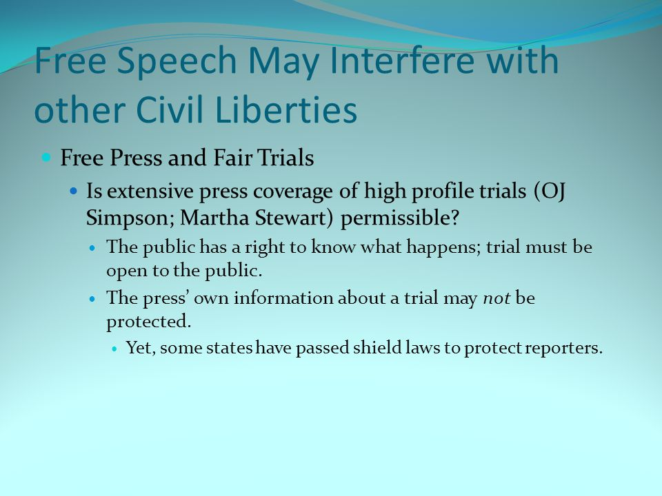 Free Speech May Interfere with other Civil Liberties
