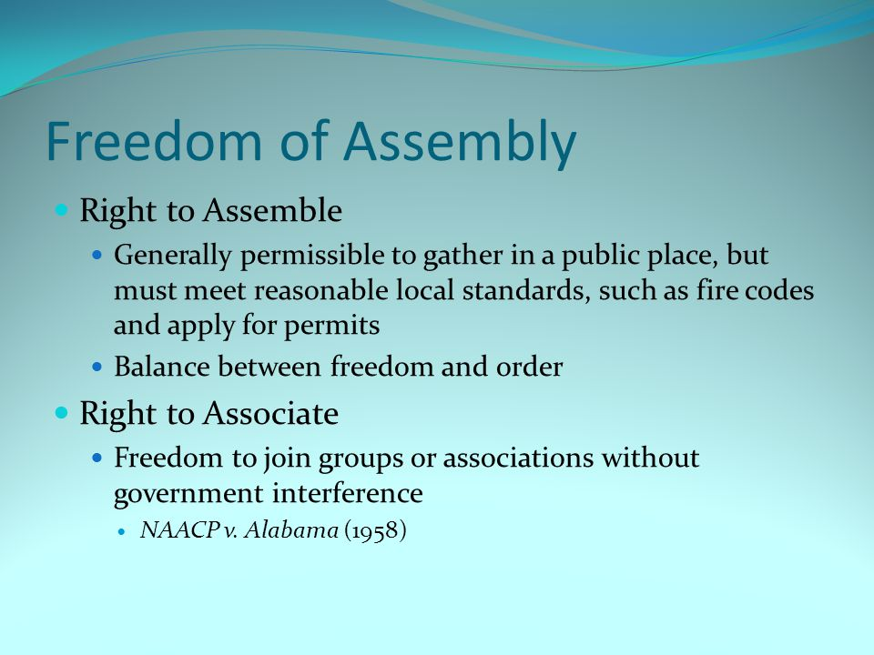 Freedom of Assembly Right to Assemble Right to Associate