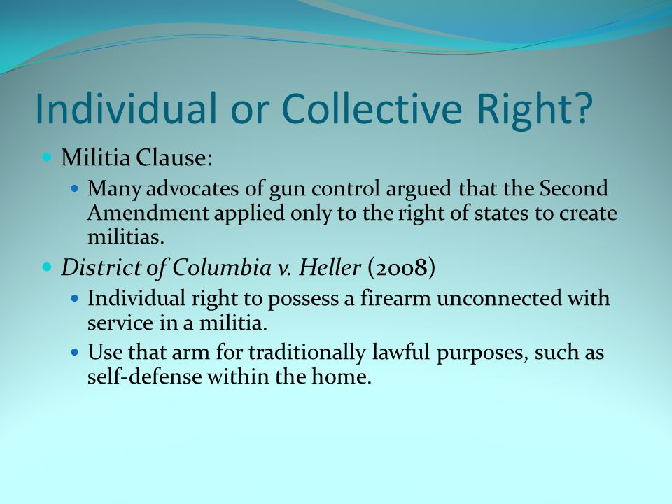 Individual or Collective Right