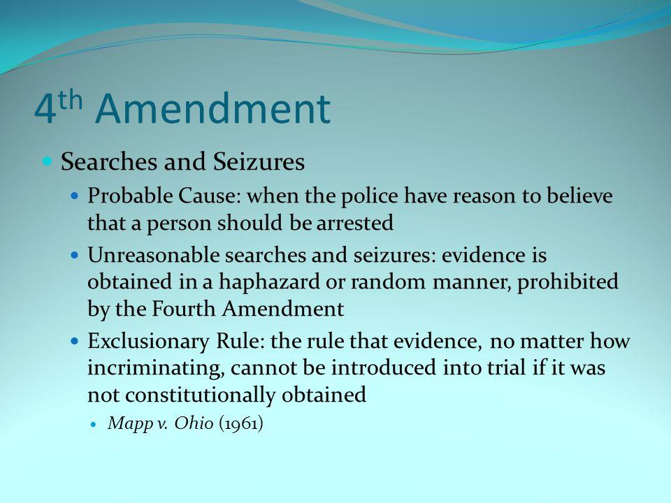 4th Amendment Searches and Seizures