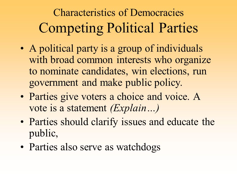 Characteristics of Democracies Competing Political Parties