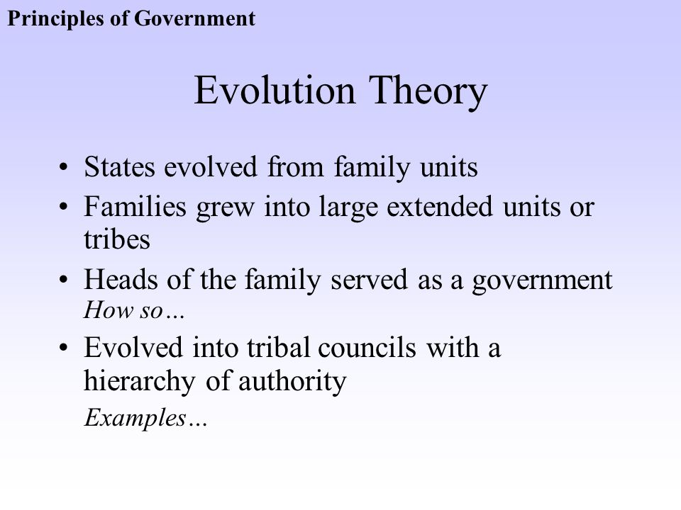 Evolution Theory States evolved from family units