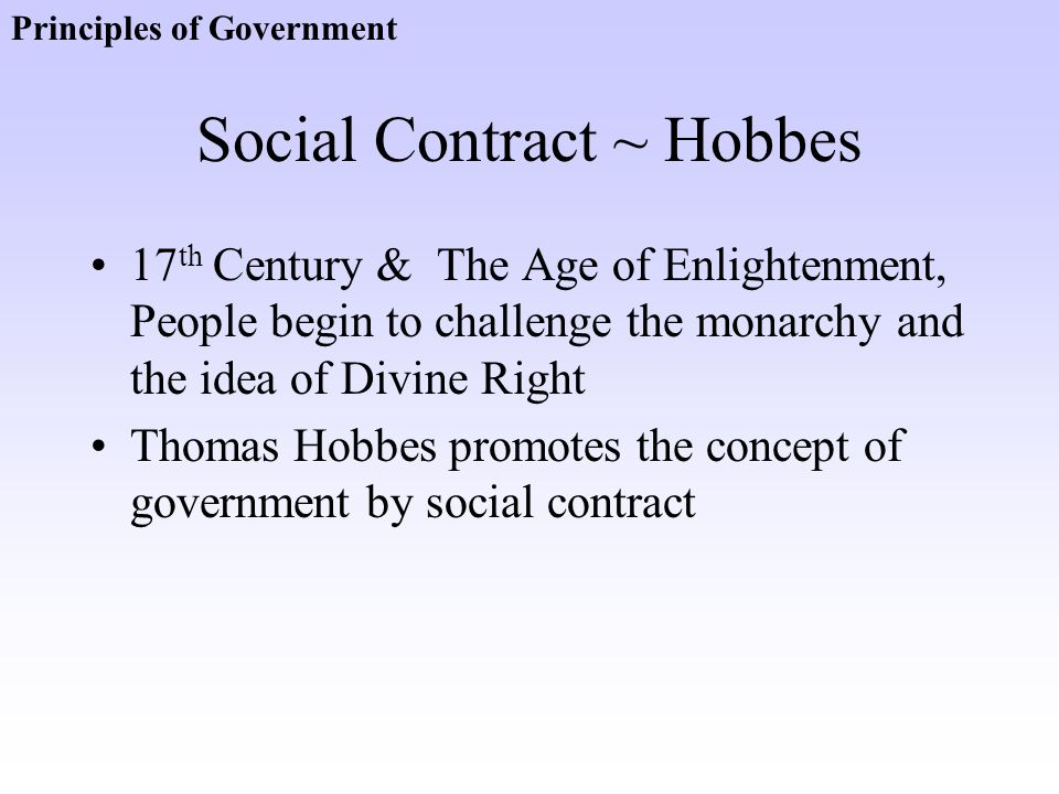 Social Contract ~ Hobbes