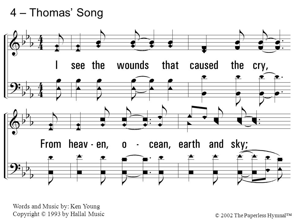 4 – Thomas' Song 4. I see the wounds that caused the cry,