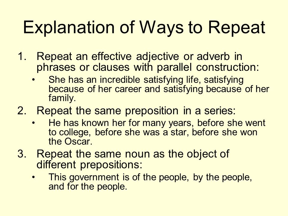 Explanation of Ways to Repeat