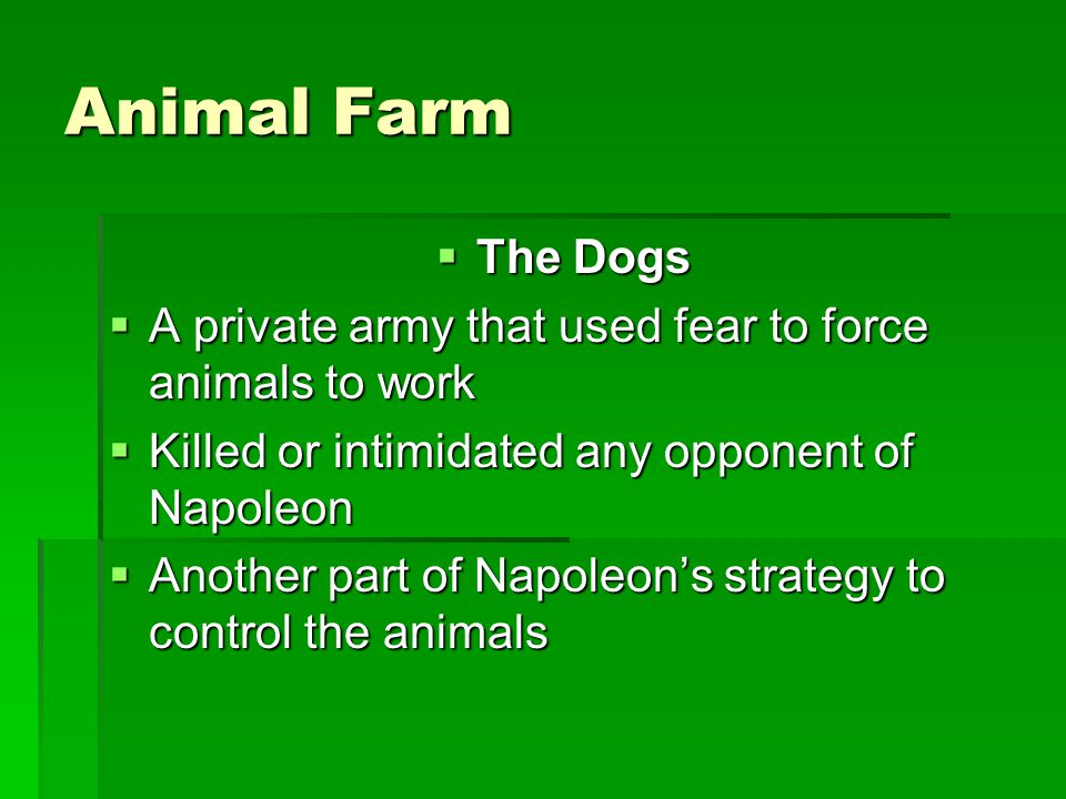 Animal Farm The Dogs. A private army that used fear to force animals to work. Killed or intimidated any opponent of Napoleon.