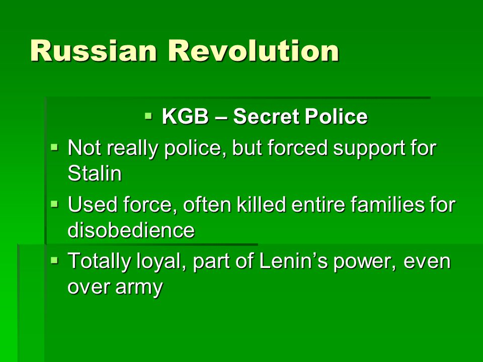 Russian Revolution KGB – Secret Police