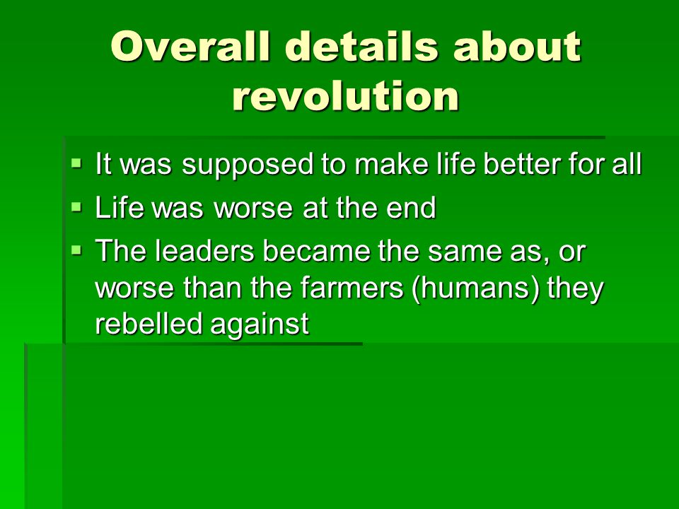 Overall details about revolution