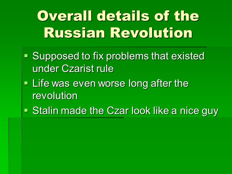 Overall details of the Russian Revolution