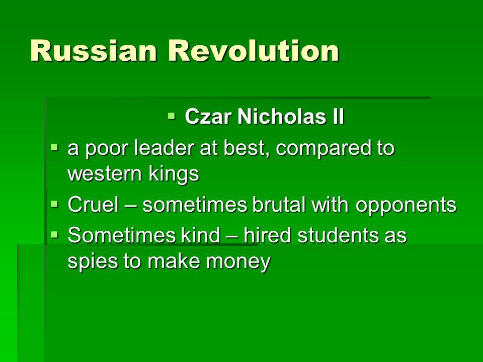 Russian Revolution Czar Nicholas II