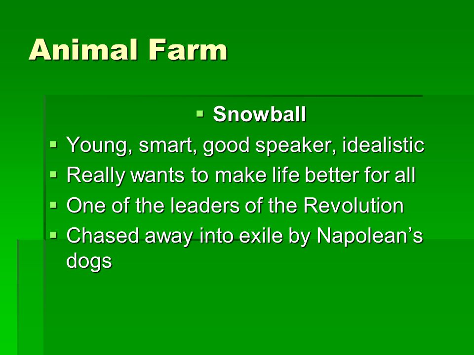 Animal Farm Snowball Young, smart, good speaker, idealistic