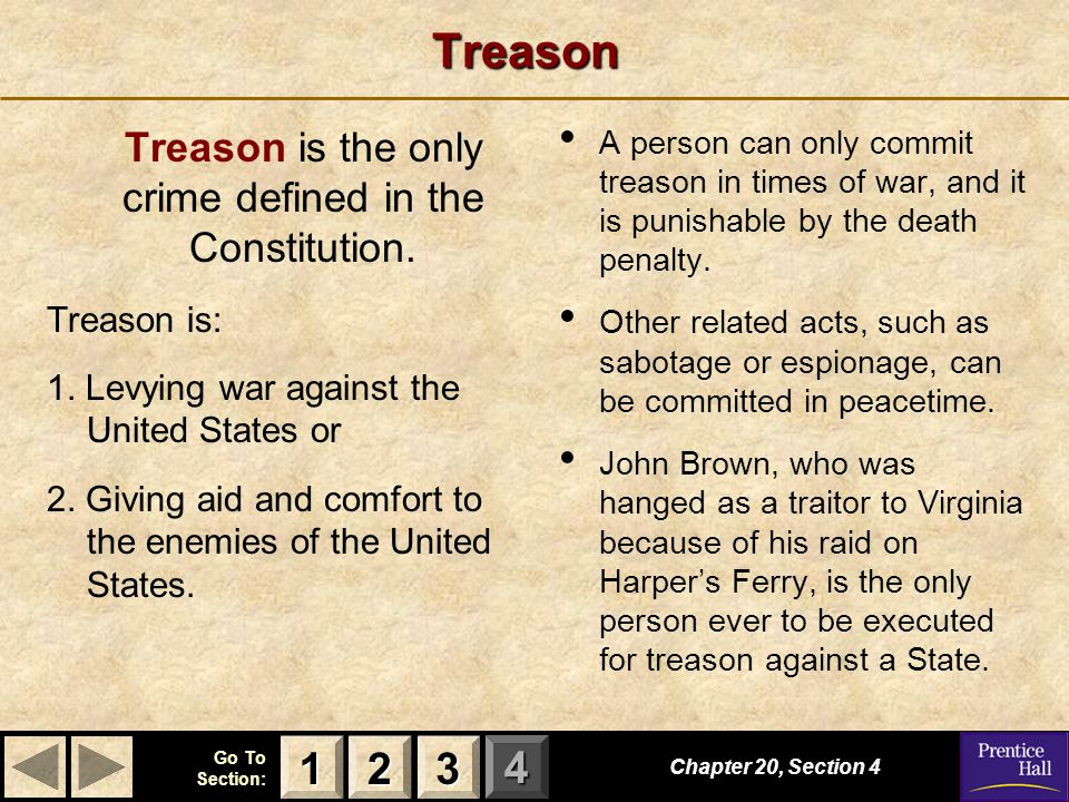 Treason is the only crime defined in the Constitution.