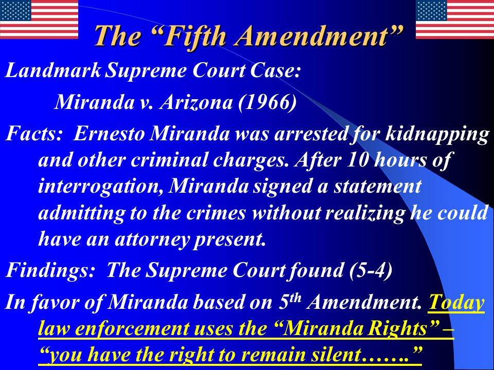 The Fifth Amendment Landmark Supreme Court Case: