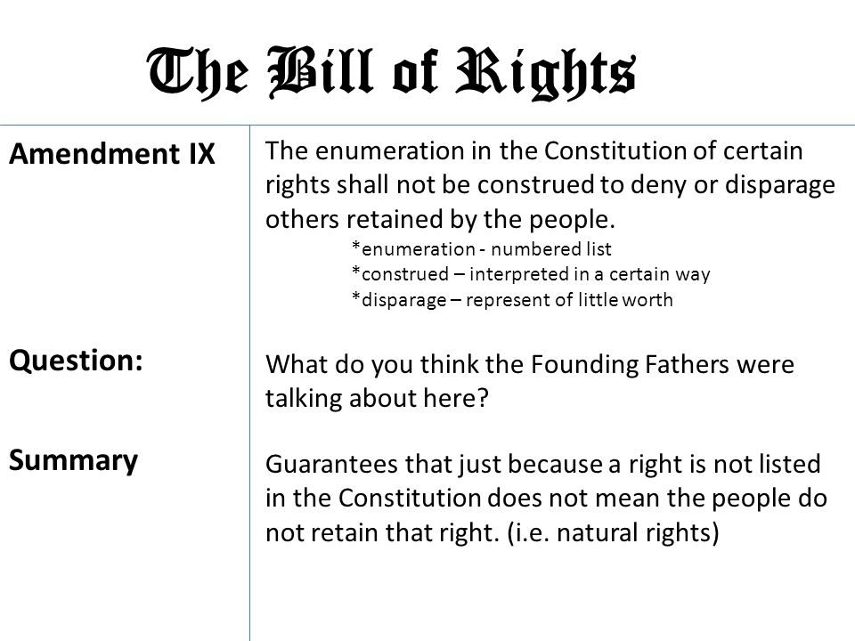 The Bill of Rights Amendment IX Question: Summary