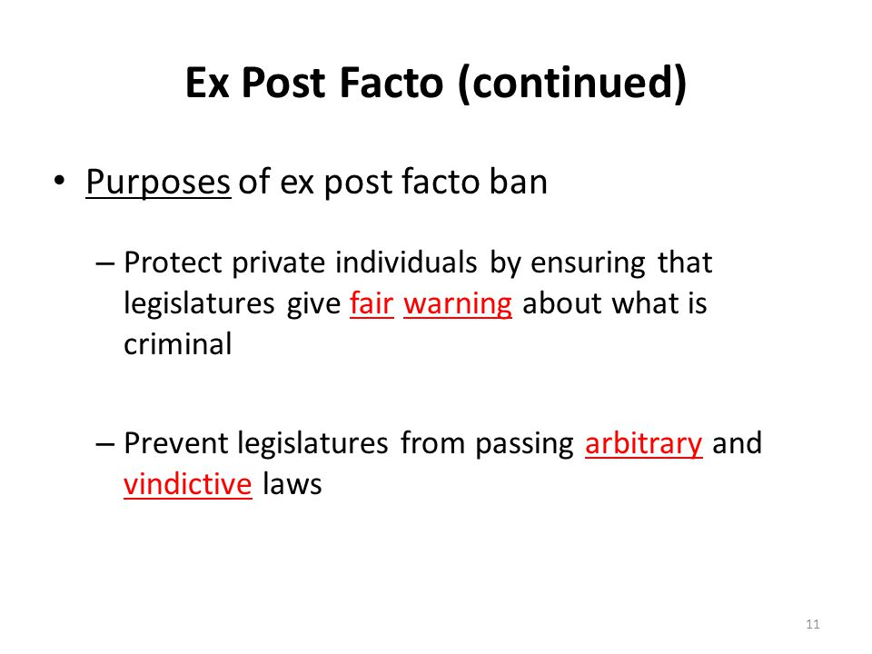 Ex Post Facto Laws