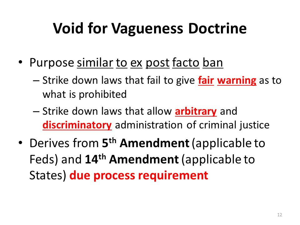 Void for Vagueness Doctrine