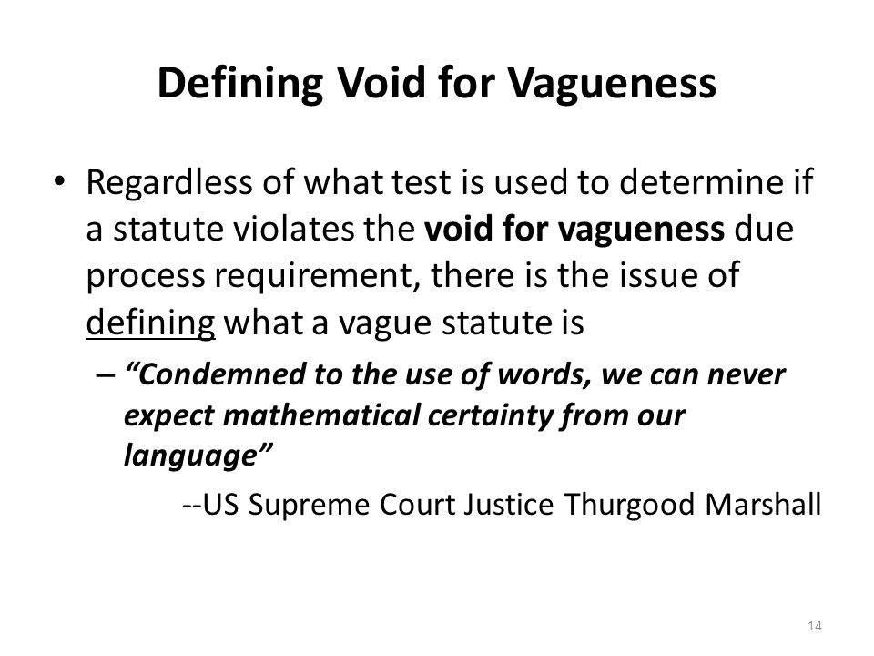 Defining Void for Vagueness