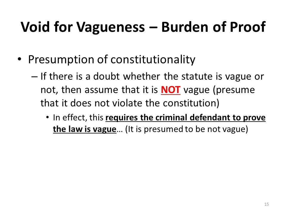 Void for Vagueness – Burden of Proof